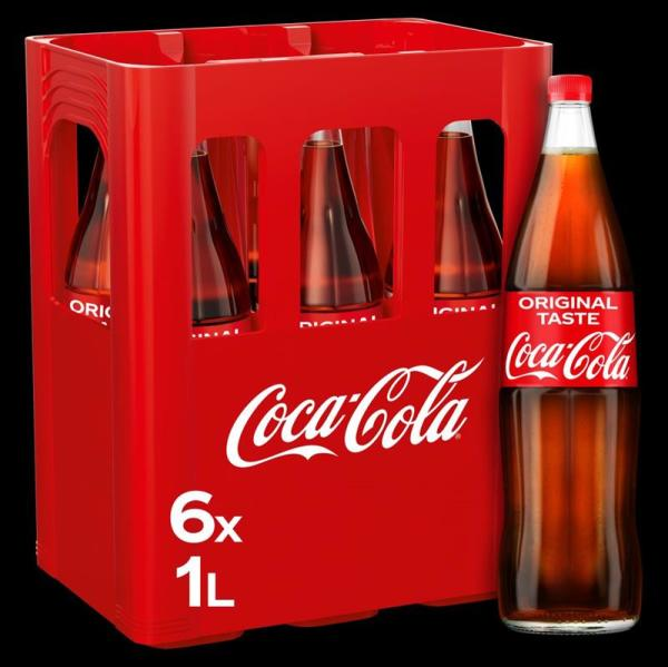 Coca Cola 6x1 l Glas (Mehrweg)